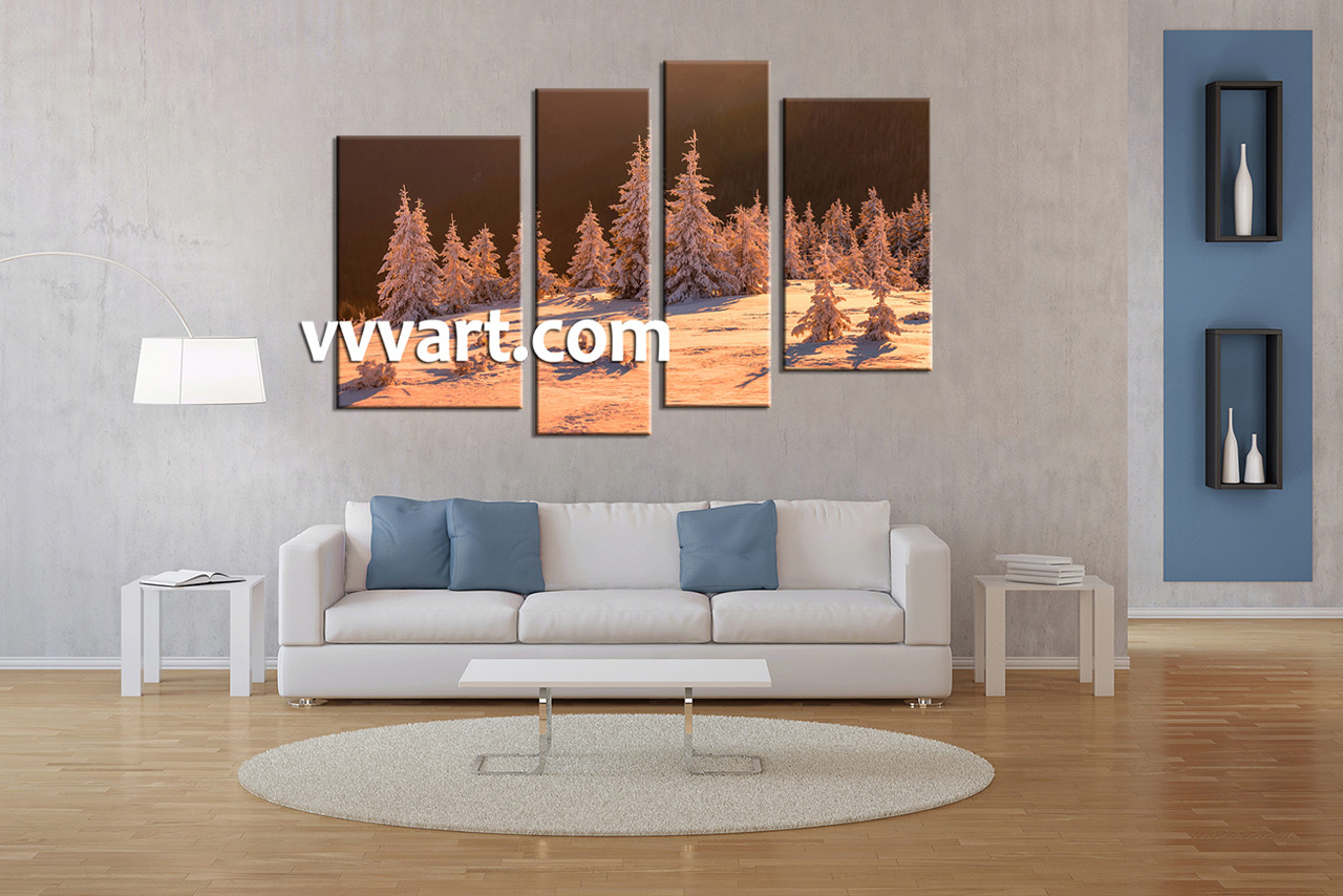 Canvas For Living Room Wall Part - 34: Living Room Wall Art, 4 Piece Decor, Sepia Multi Panel Art, Scenery Wall
