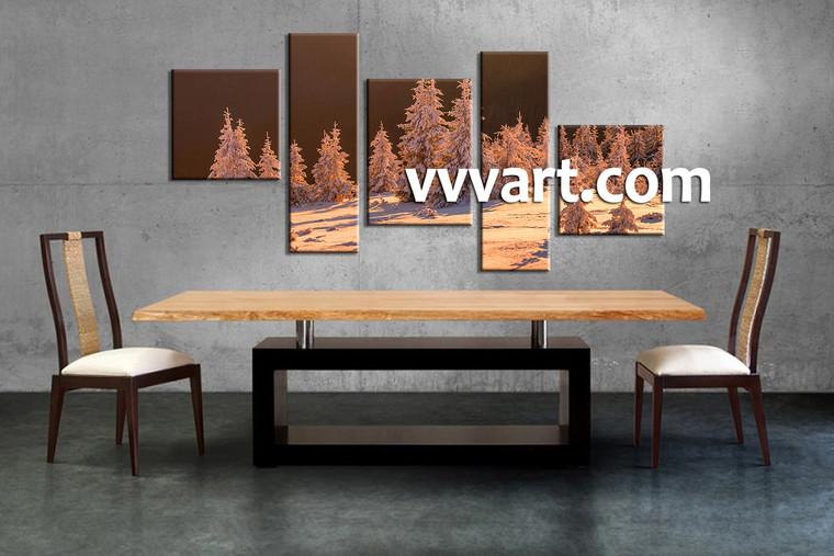5 Piece Brown Canvas Snow Sepia Landscape Wall Art