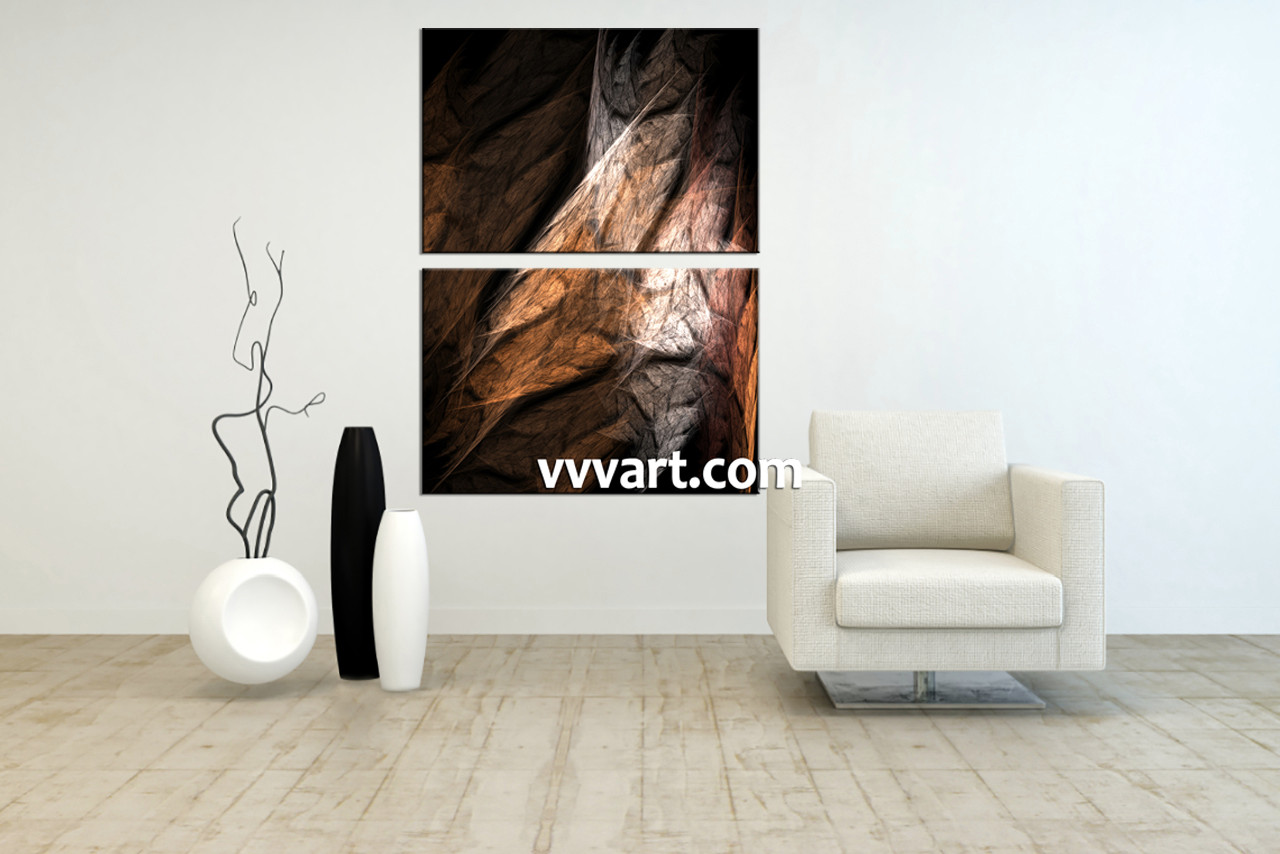2 Piece Brown Canvas Modern Abstract Huge Pictures