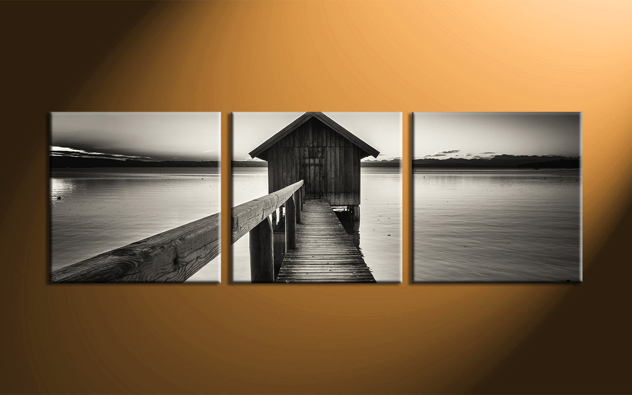 3 piece canvas ocean grey wall art for Black and white mural prints