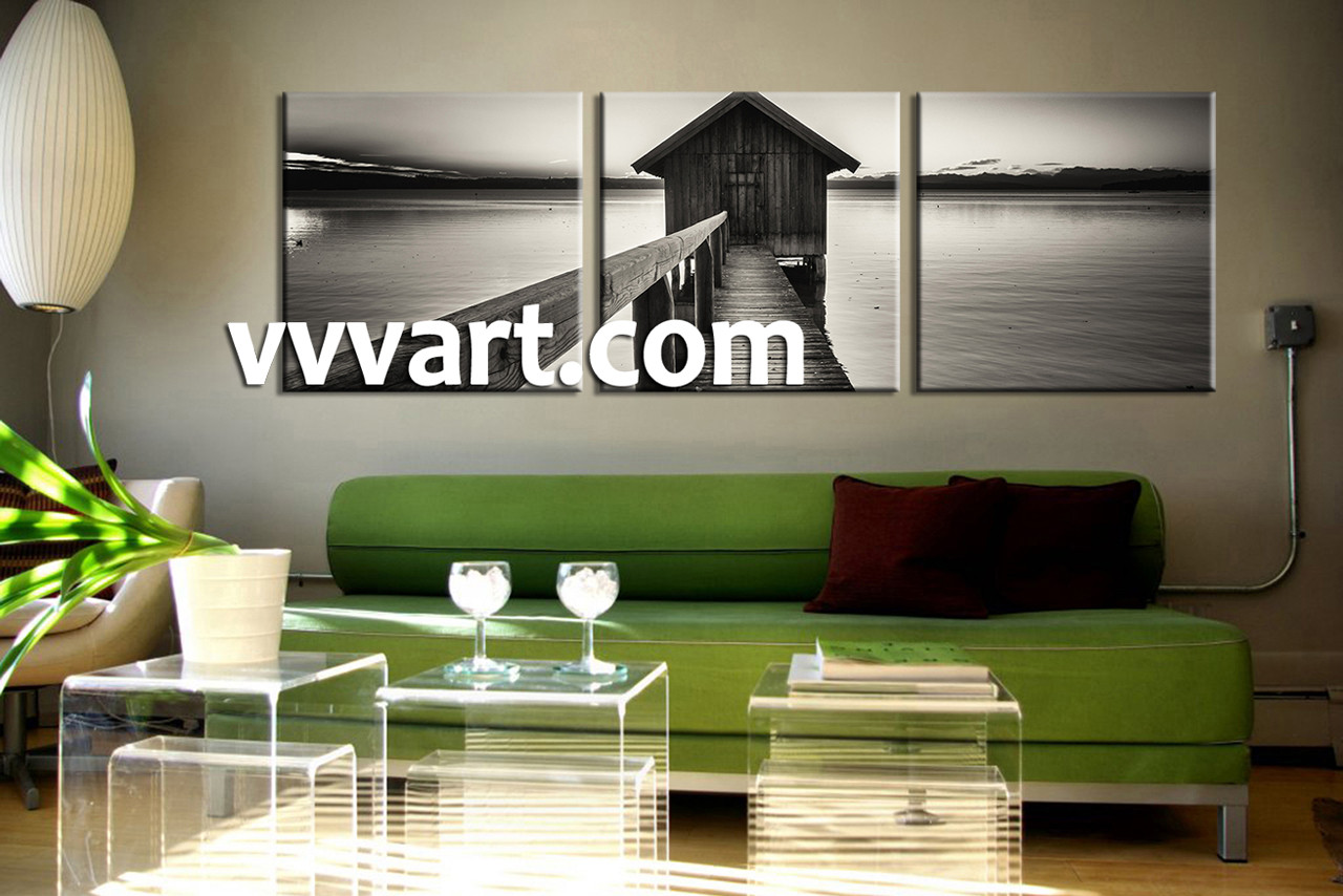3 piece canvas ocean grey wall art. Black Bedroom Furniture Sets. Home Design Ideas