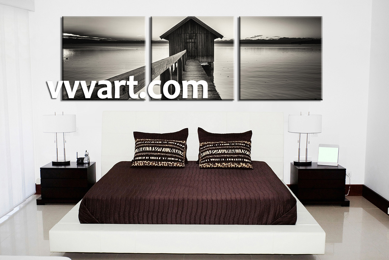 Black And White Canvas Wall Art 3 piece canvas ocean grey wall art