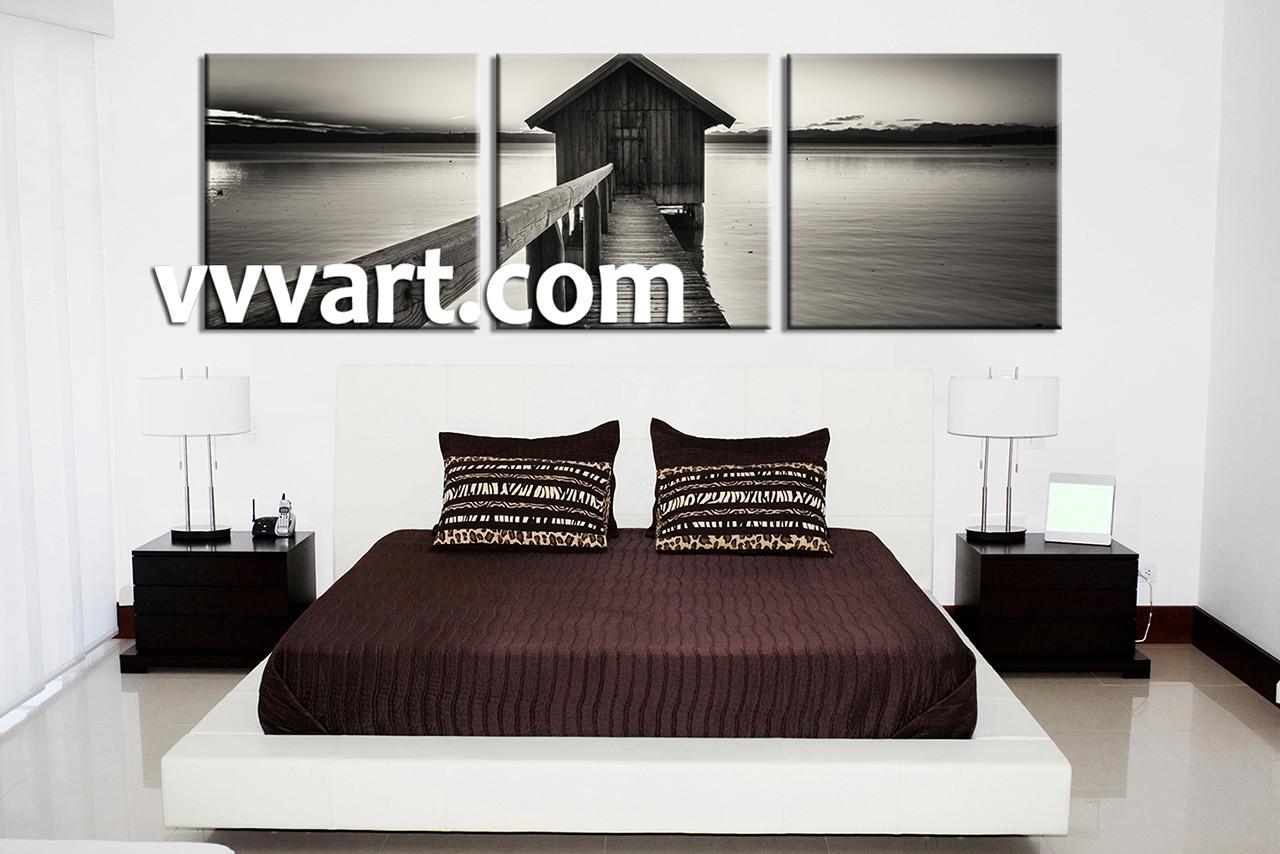 bedroom wall decor 3 piece canvas wall art black and white wall art & 3 Piece Canvas Ocean Grey Wall Art