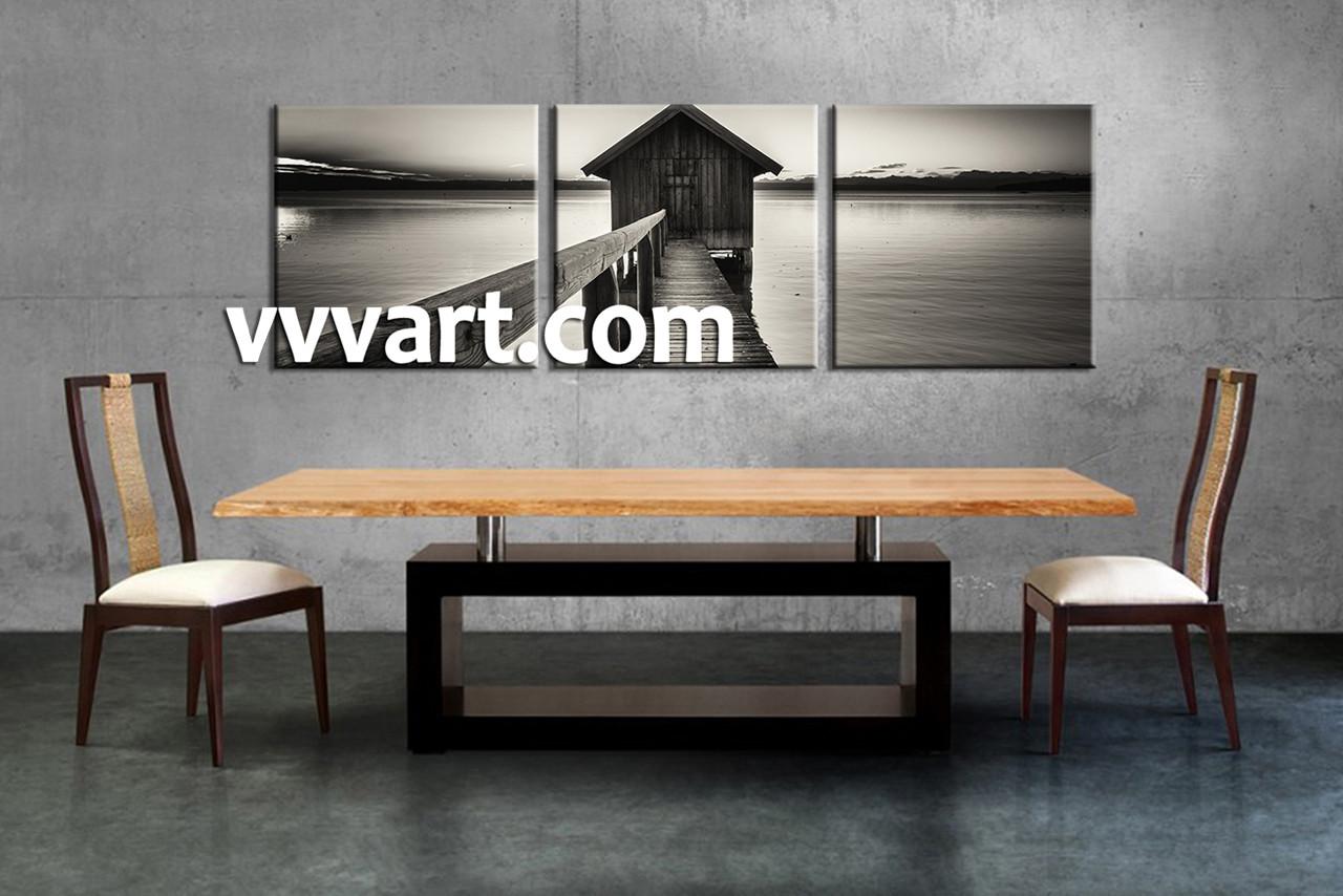 3 piece canvas ocean grey wall art