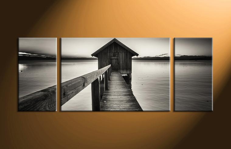 3 piece grey canvas ocean pictures. Black Bedroom Furniture Sets. Home Design Ideas