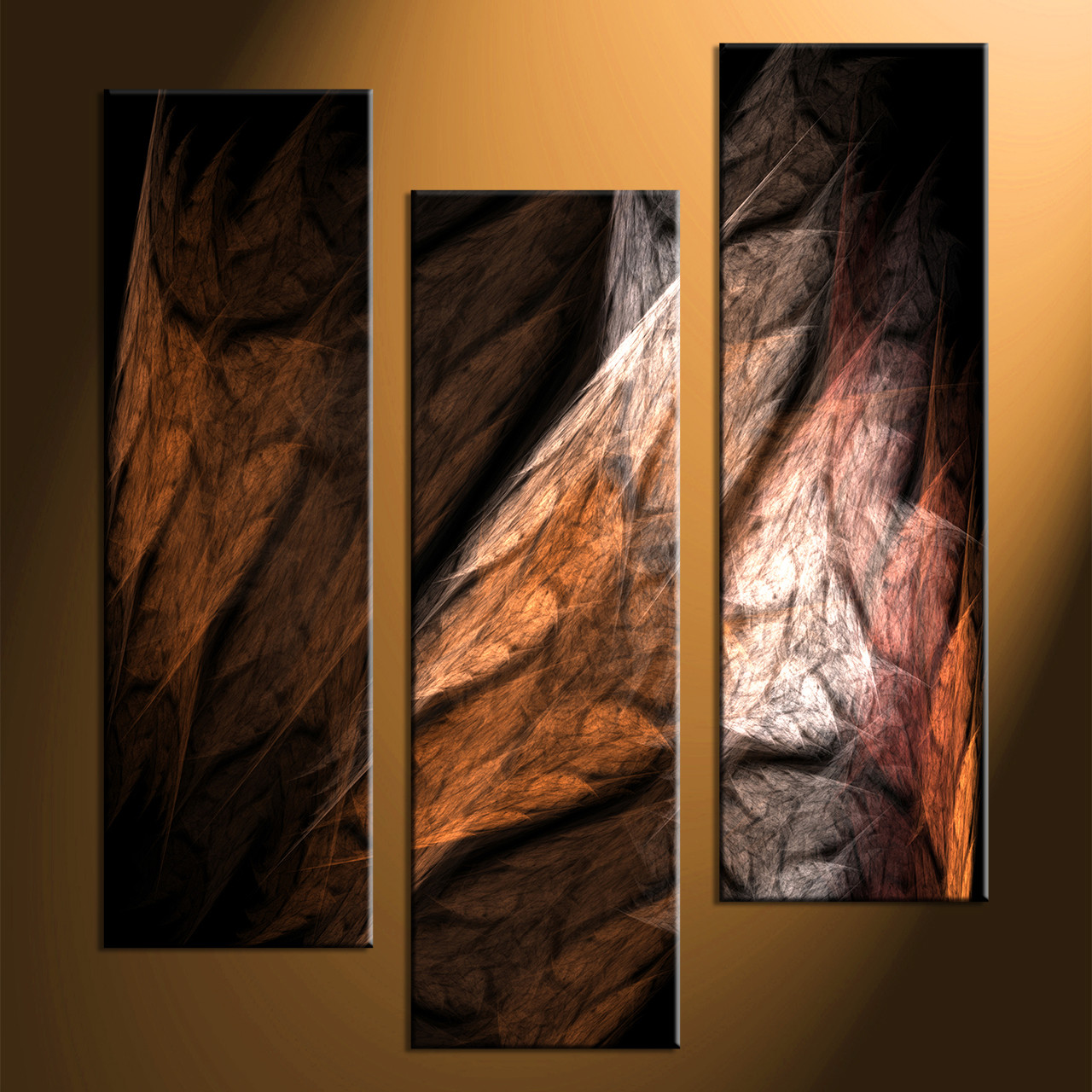 3 piece brown canvas modern abstract huge pictures for Abstract wall art