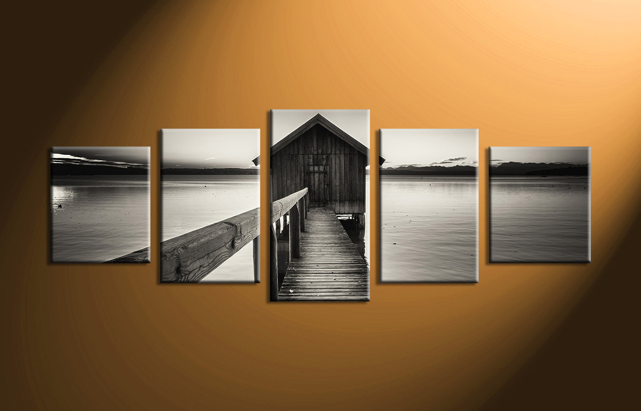 5 piece grey canvas ocean wall decor for White wall decor