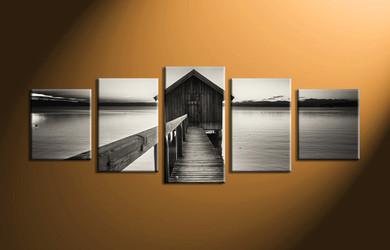 home decor,5 piece canvas wall art, ocean wall art, ocean wall decor, ocean large canvas, black and white wall art