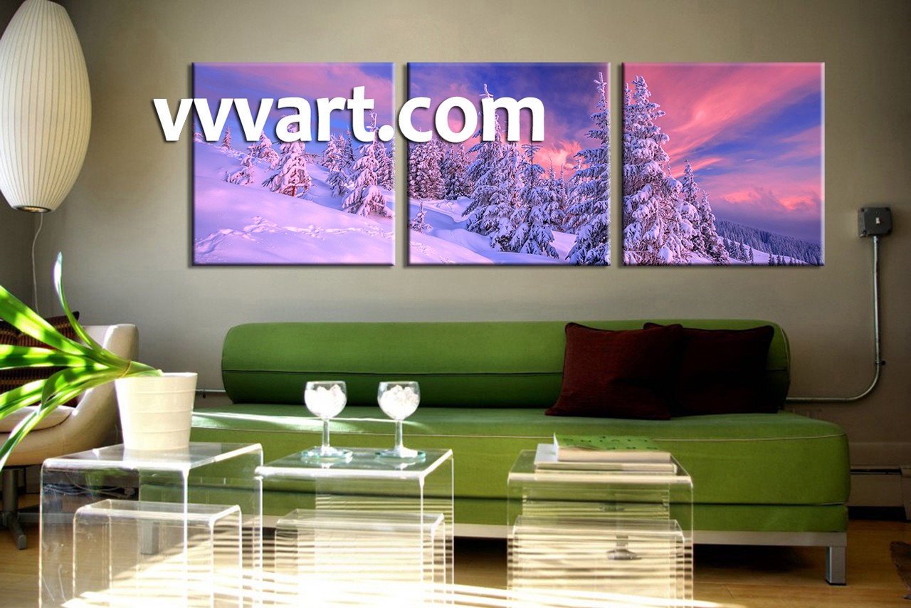 Living Room Wall Art, 3 Piece Huge Pictures, Nature Multi Panel Art, Scenery Part 77