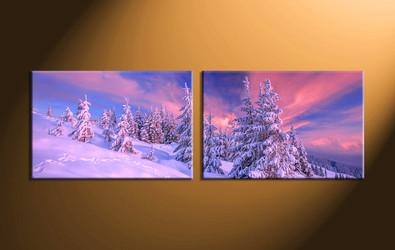 home decor,2 piece group canvas, landscape canvas print, fig tree canvas print, snow artwork