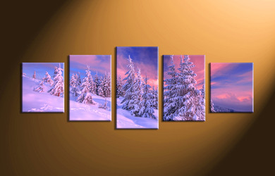 snow artwork, home decor, 5 piece group canvas, landscape canvas print, fig tree canvas print