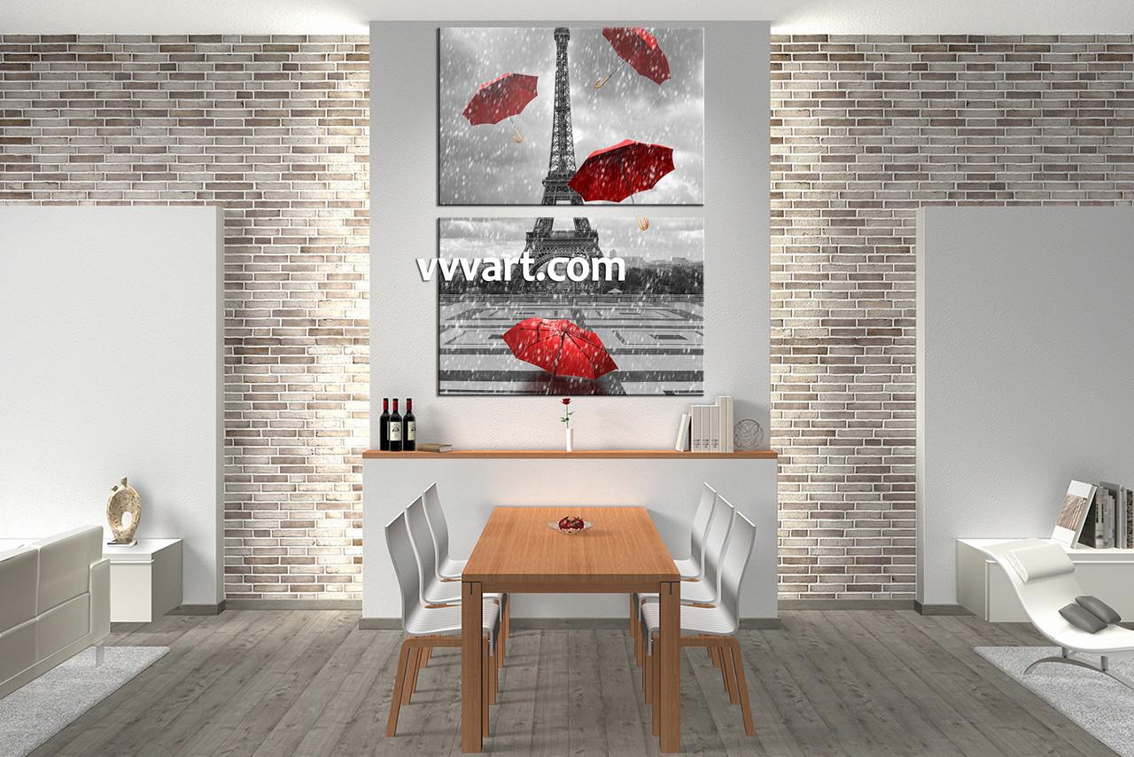 Dining Room Wall Decor, 2 Piece Wall Art, Umbrella Canvas Art, Raining  Artwork