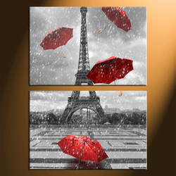 home decor, 2 Piece Wall Art, umbrella panel art, eiffel tower art, raining art