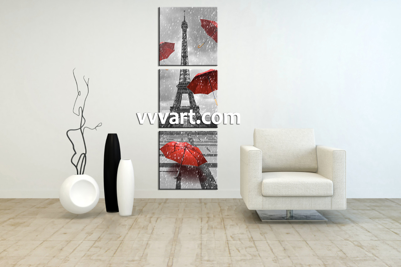 Living Room Wall Art, 3 Piece Wall Art, Eiffel Tower Multi Panel Art,