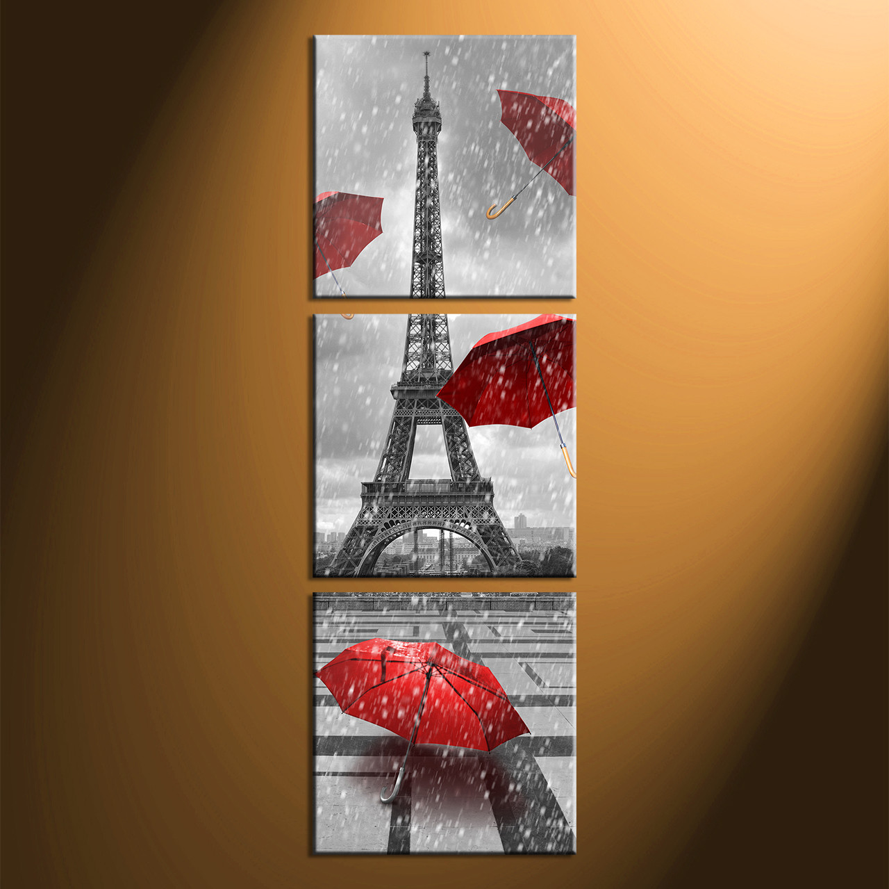 Home Decor, 3 Piece Wall Art, Umbrella Panel Art, Eiffel Tower Art,