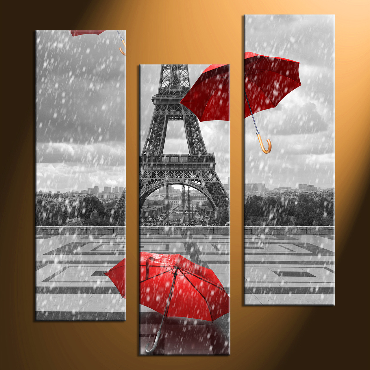 Triptych Wall Art 3 piece eiffel black and white tower pictures