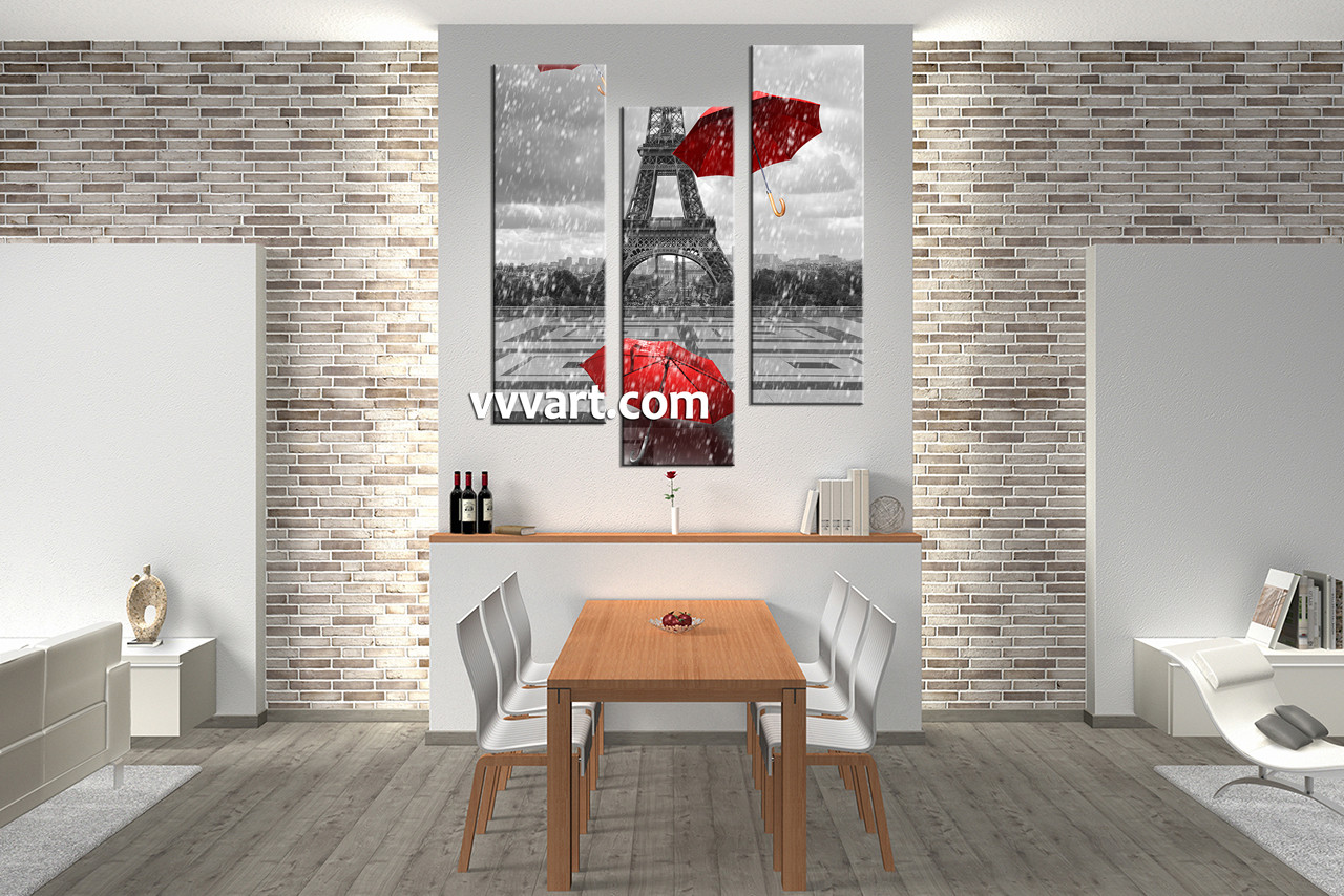 3 piece eiffel black and white tower pictures for Eiffel tower wall mural black and white