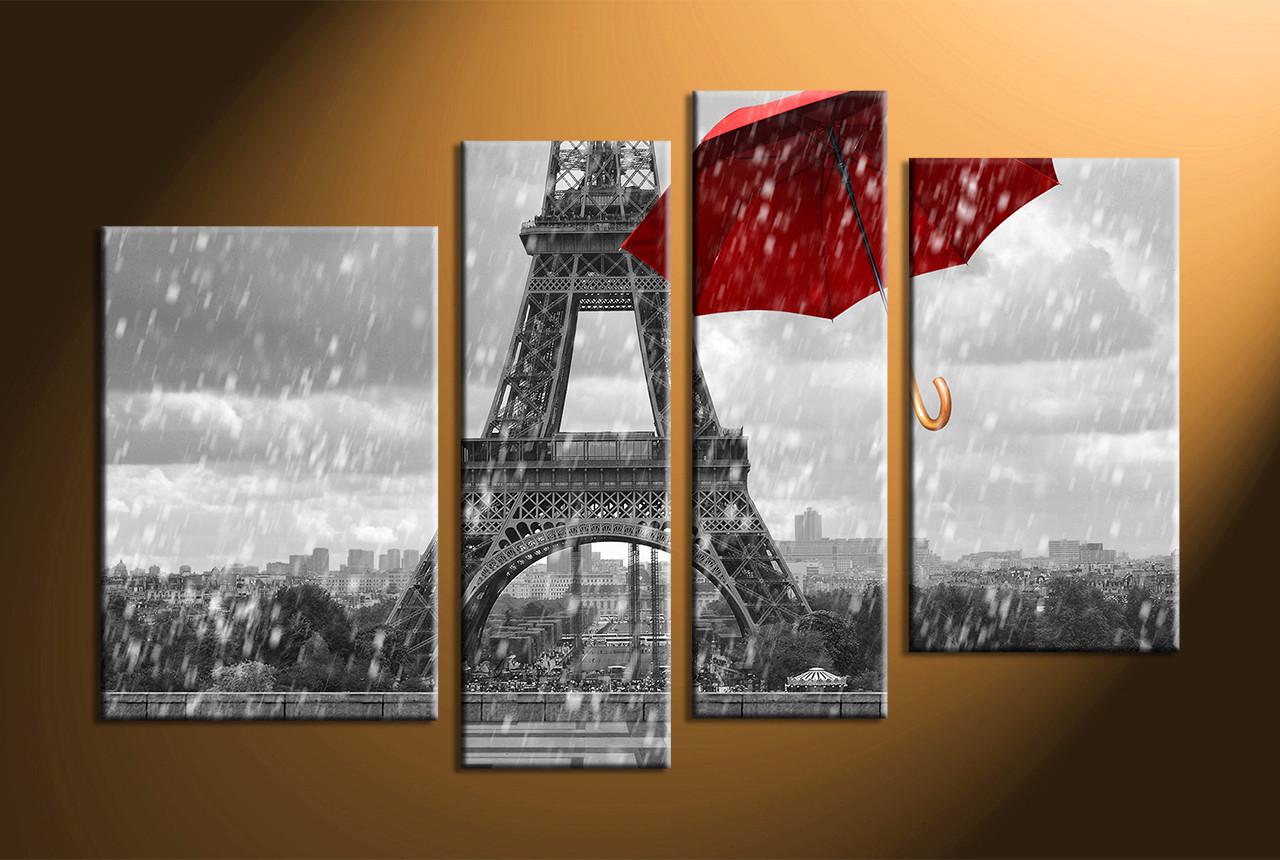 Home Decor, 4 Piece Wall Art, Umbrella Panel Art, Eiffel Tower Art Pictures