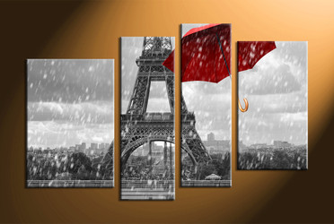 home decor, 4 Piece Wall Art, umbrella panel art, eiffel tower art pictures, black and white raining art