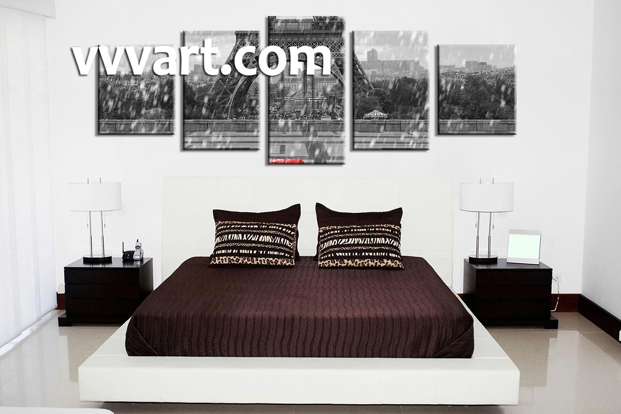 Bedroom Decor, 5 Piece Wall Art, Eiffel Tower Artwork, Raining Art, Black
