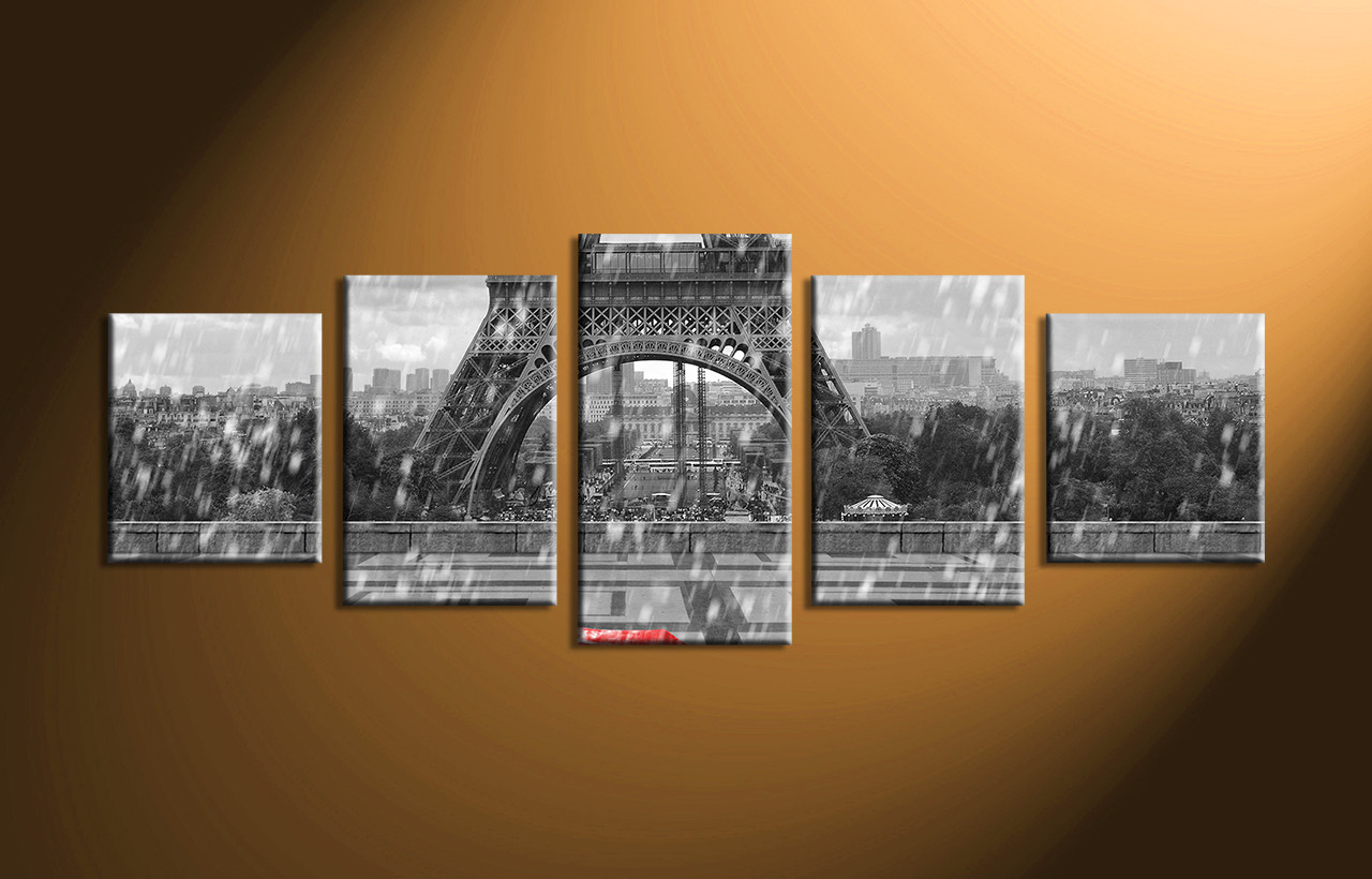 5 piece black and white eiffel tower group canvas for Eiffel tower wall mural black and white
