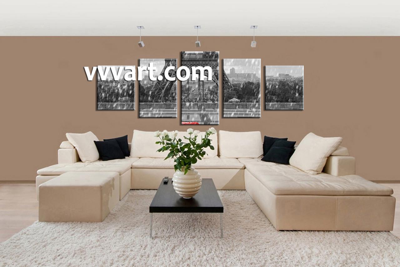 Superb Living Room Wall Art, 5 Piece Wall Art, Eiffel Tower Multi Panel Art, Part 15