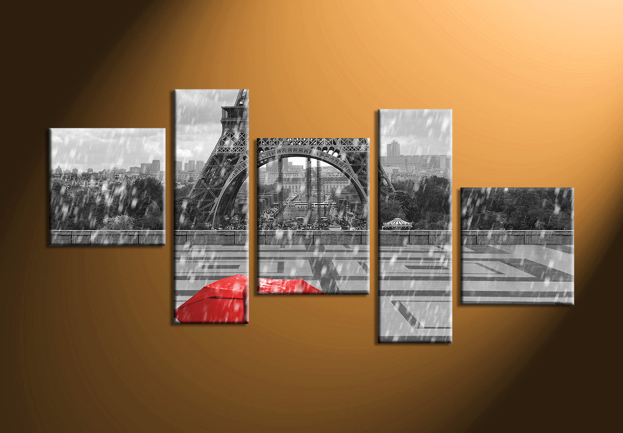 5 piece eiffel tower black and white large canvas for Eiffel tower wall mural black and white