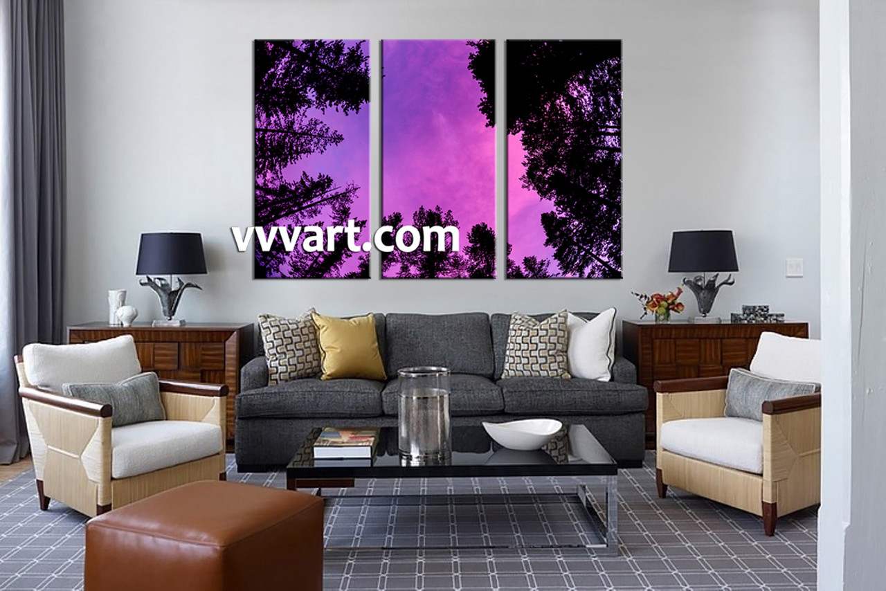 Forest Wall Art triptych scenery purple sky large pictures