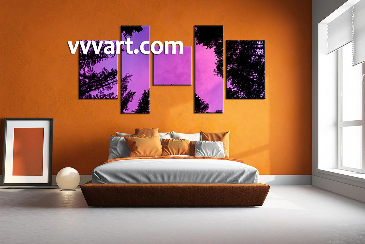 5 piece tree scenery purple wall decor for 5 piece mural
