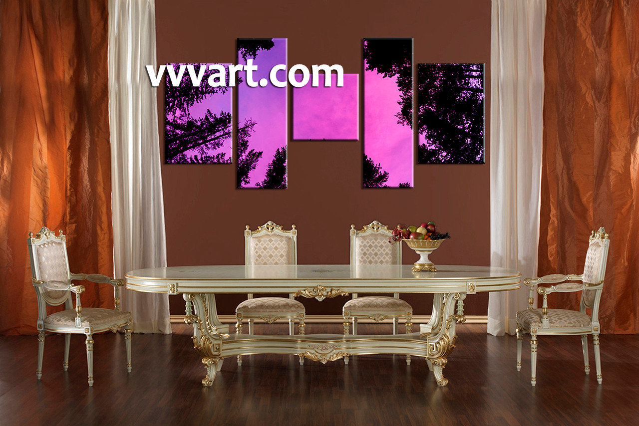 5 piece tree scenery purple wall decor