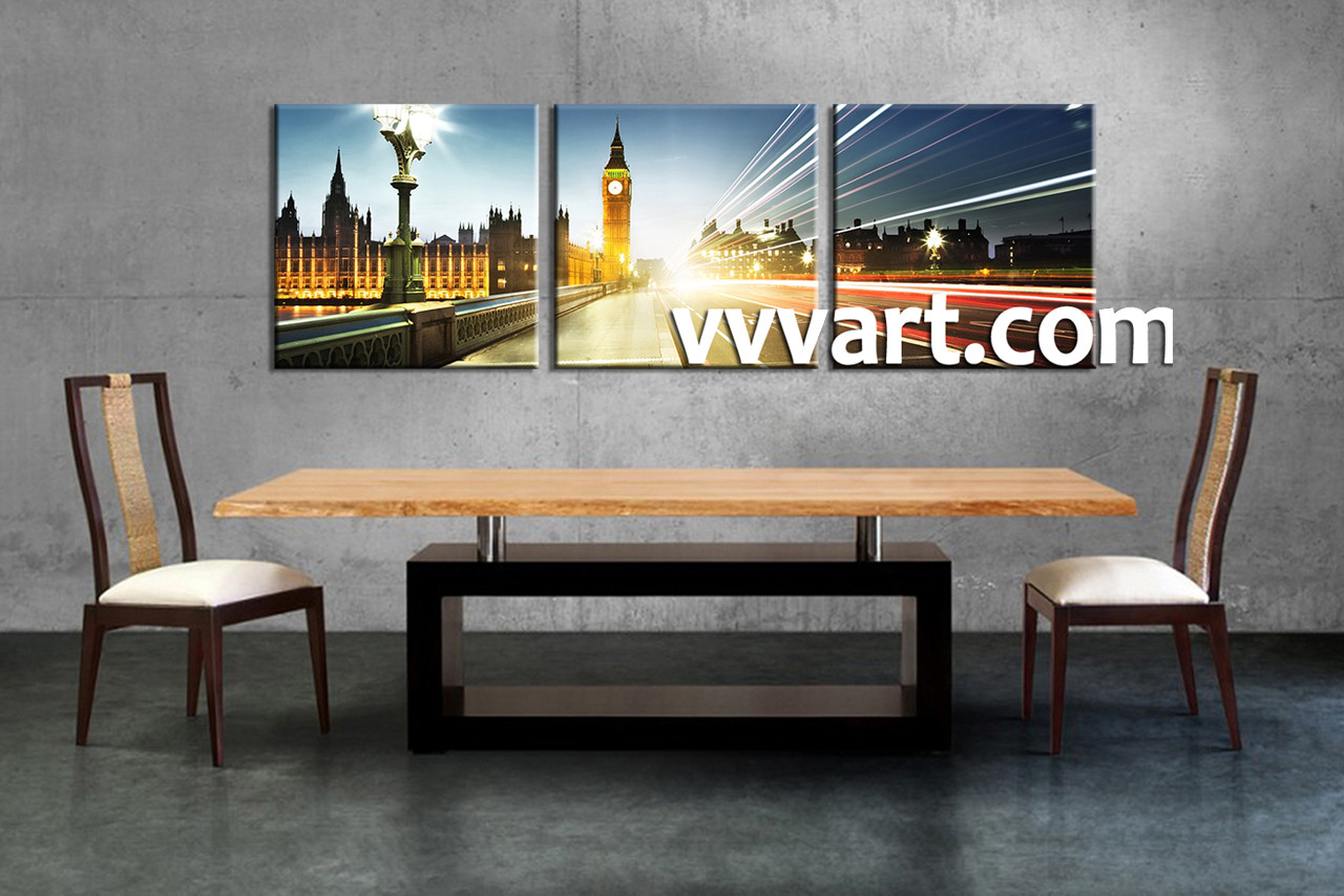 3 Piece Colorful City London Clock Tower Canvas Wall Art