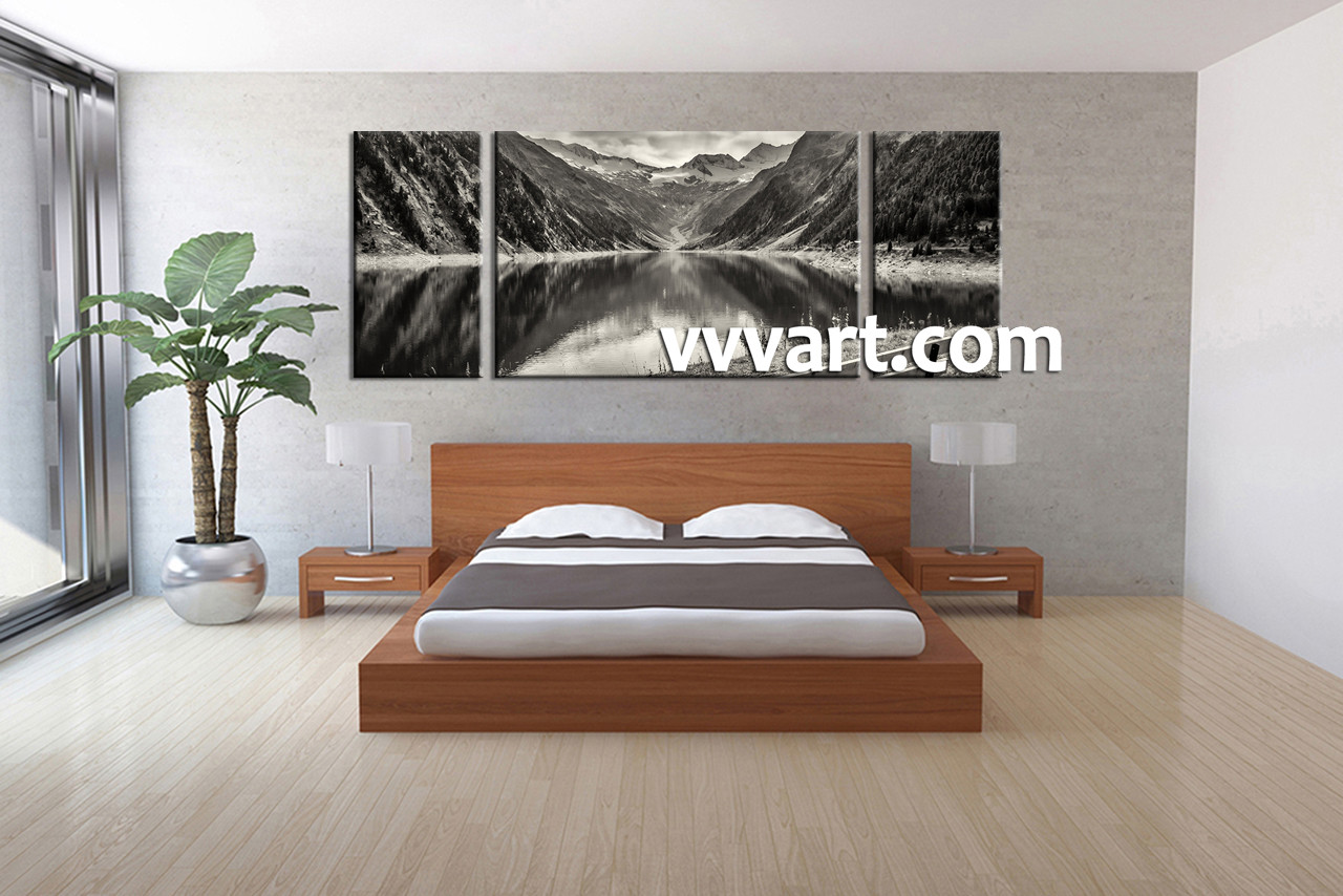 Bedroom Decor, 3 Piece Wall Art, Forest Picture, River Art, Black And