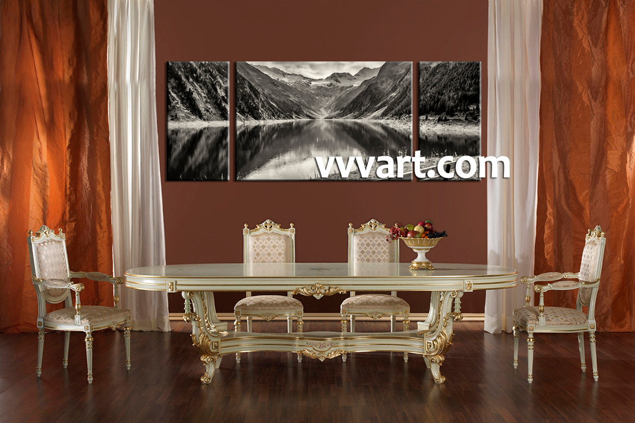 3 piece black and white mountain canvas photography for Large paintings for dining room