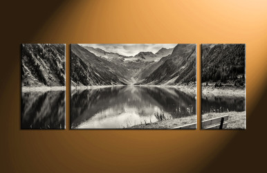 home decor, 3 Piece Wall Art, forest multi panel art, black and white canvas art, river canvas art prints