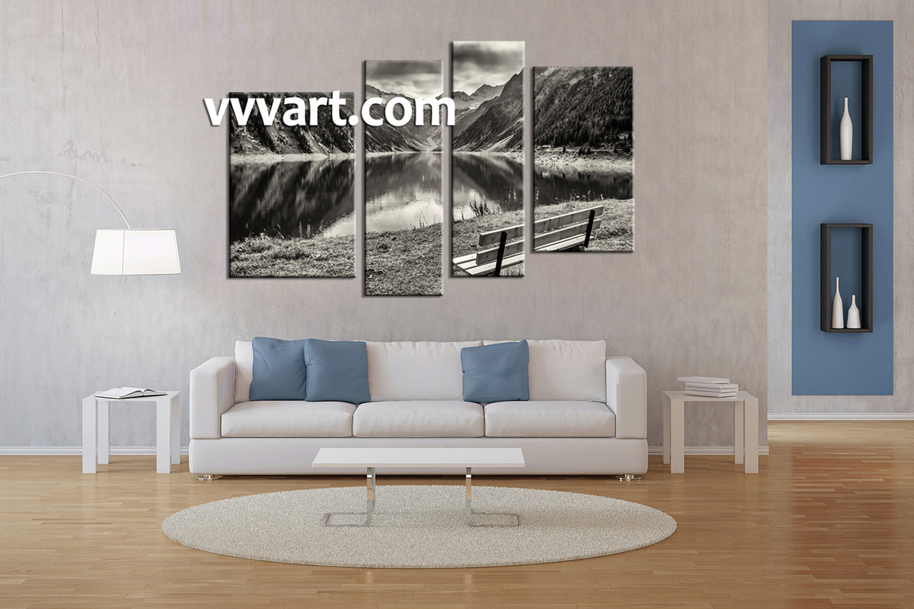 Living Room Wall Art, 4 Piece Wall Art, River Canvas Photography, Black And