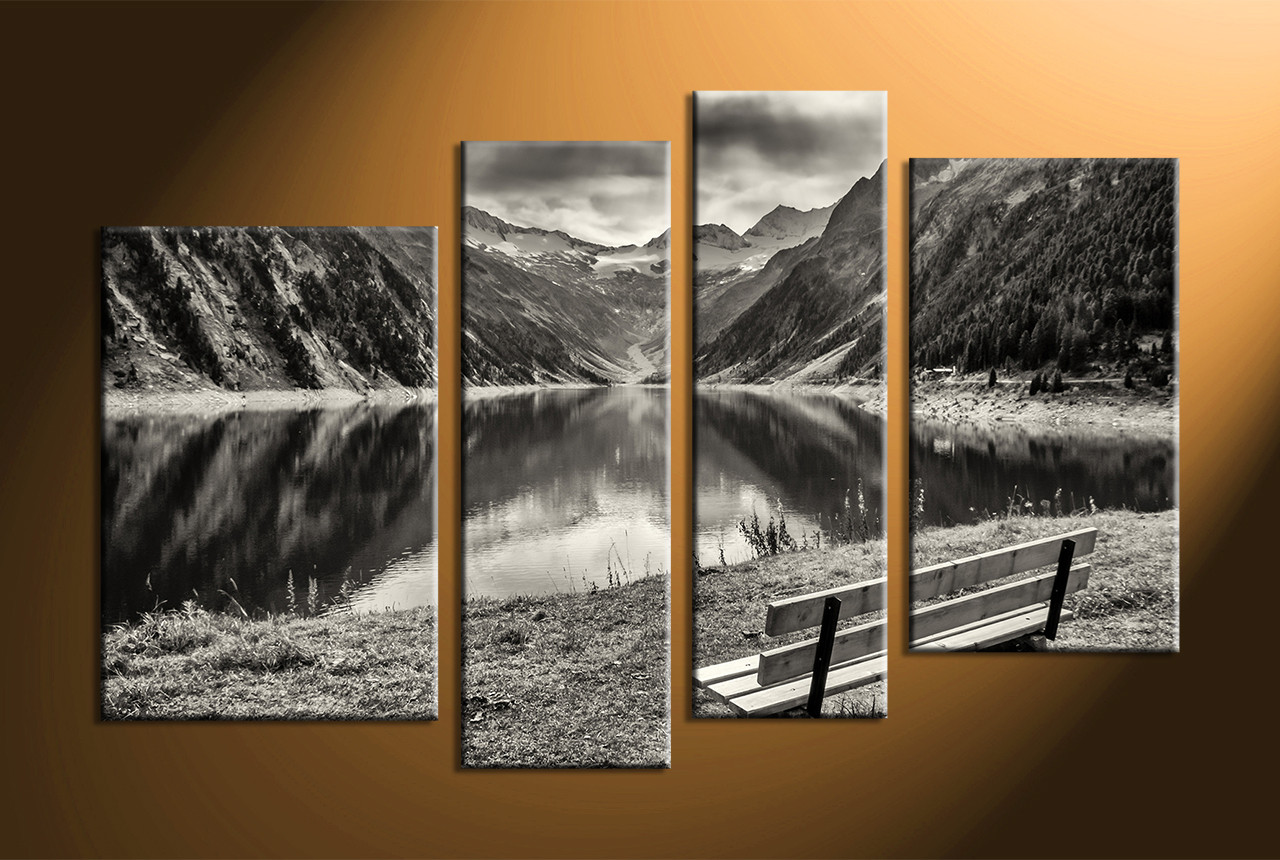 home decor 4 Piece Wall Art forest group canvas black and white large & 4 Piece Black and White Mountain Art
