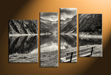 home decor, 4 Piece Wall Art, forest group canvas, black and white large pictures, river canvas art prints