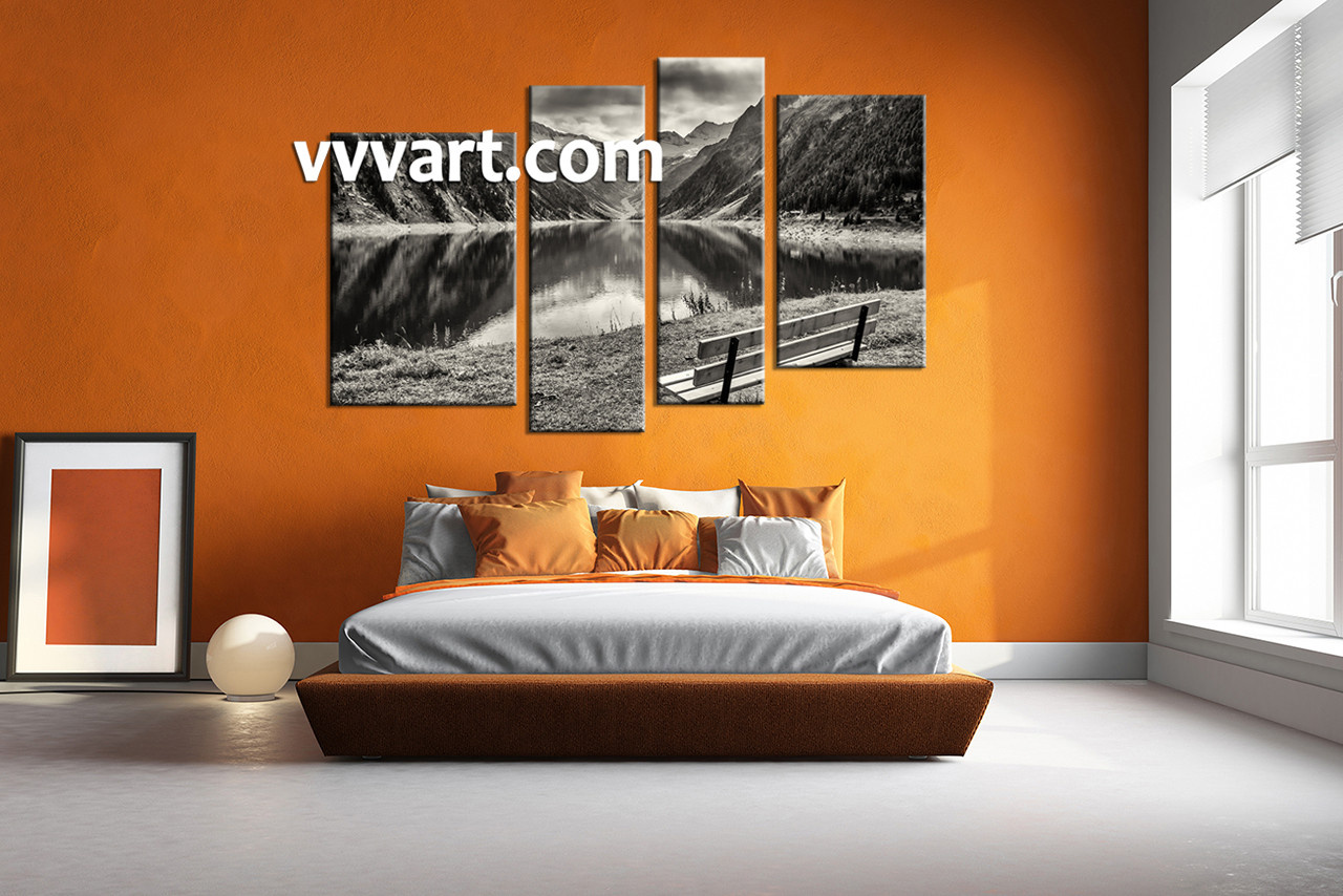 4 Piece Wall Art 4 piece black and white mountain art