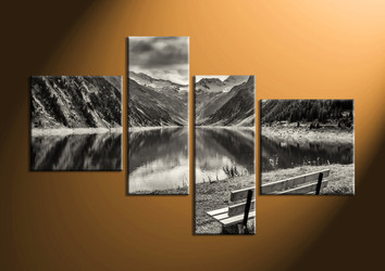 home decor, 4 Piece Wall Art, forest group canvas, black and white large pictures, river canvas print