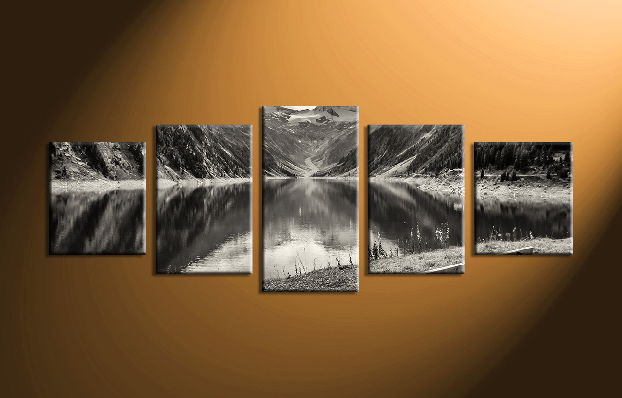 5 Piece Mountain Black And White Large Canvas