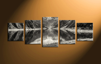 home decor, 5 Piece Wall Art, forest group canvas, black and white large pictures, river canvas print