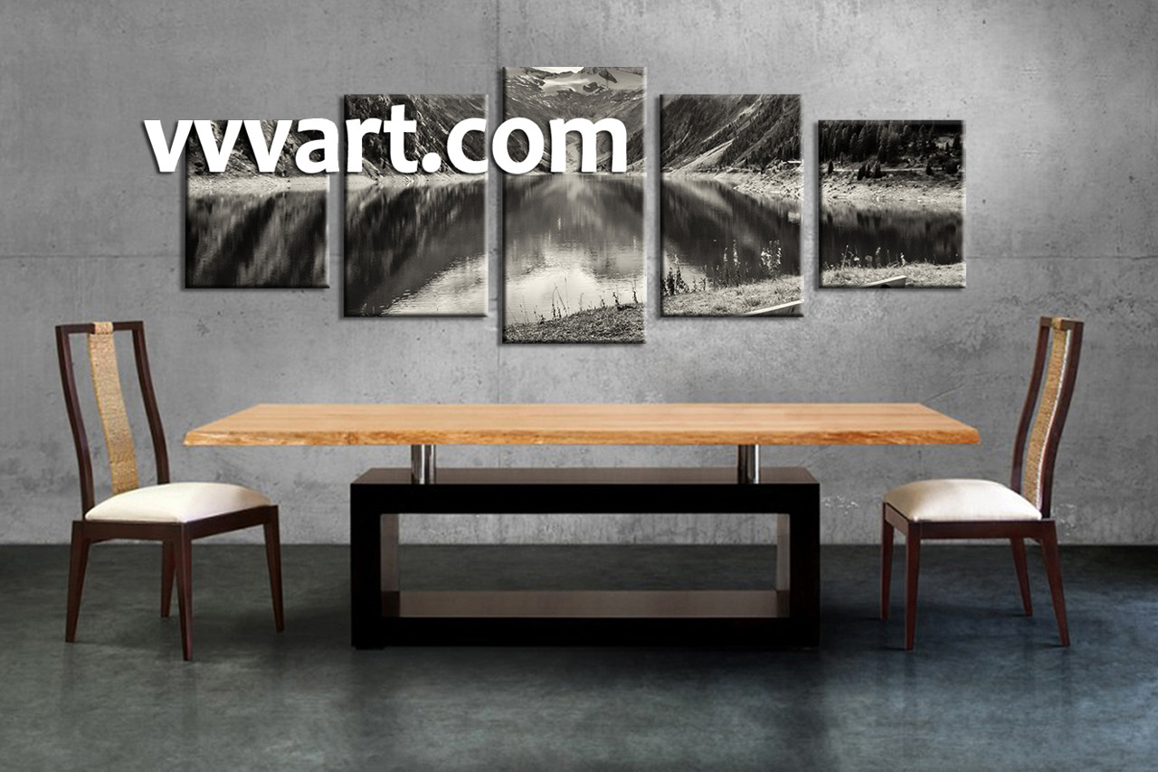 5 piece mountain black and white large canvas for Black and white dining room wall art