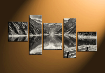 home decor, 5 Piece Wall Art, forest huge canvas art, black and white large pictures, river canvas print