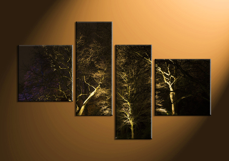4 piece scenery trees black canvas wall art. Black Bedroom Furniture Sets. Home Design Ideas