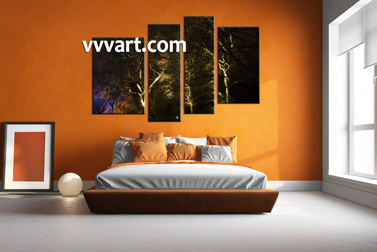 Bedroom wall art trees - Bedroom Wall Decor 4 Piece Pictures Forest Group Canvas Scenery Huge Pictures