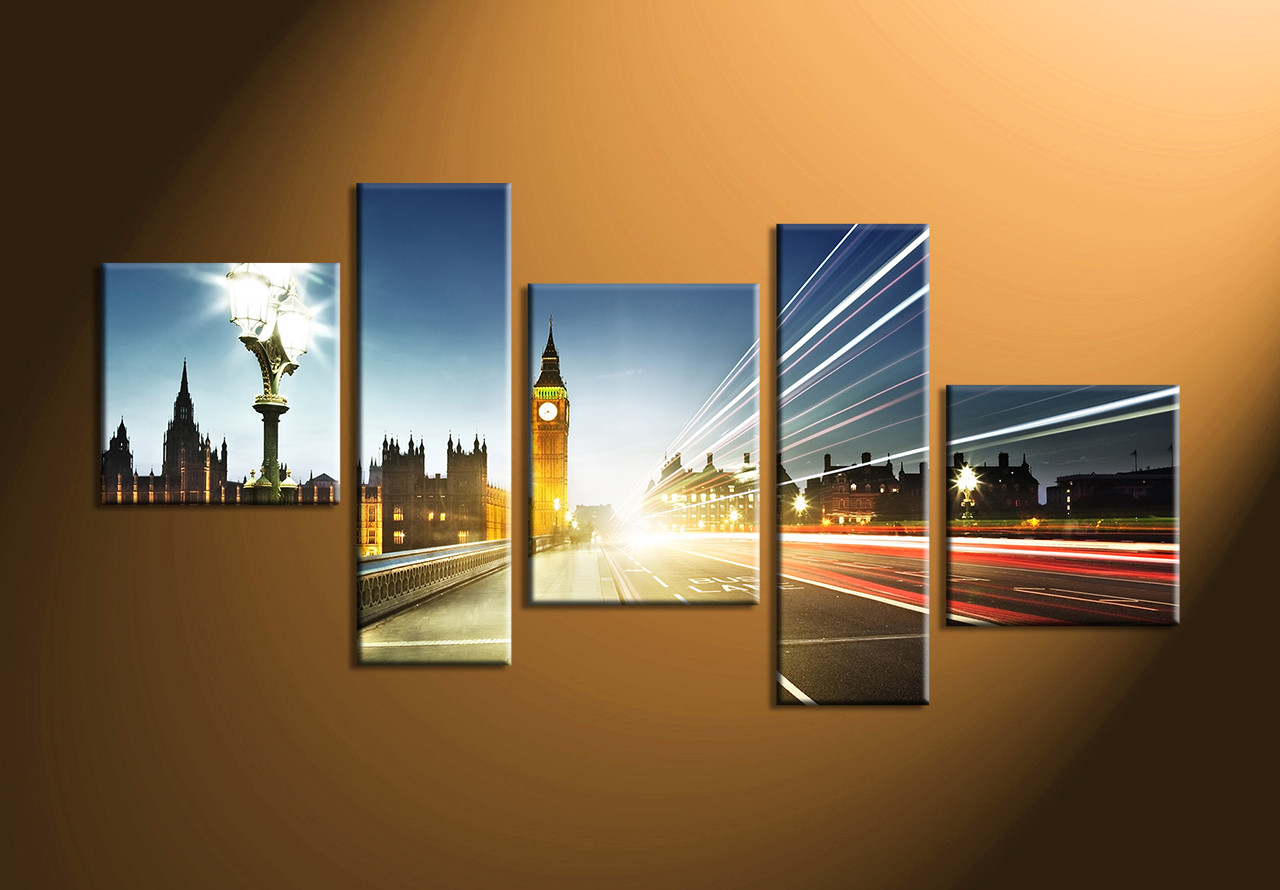 5 Piece Canvas Wall Art 5 piece colorful city london clock tower photo canvas