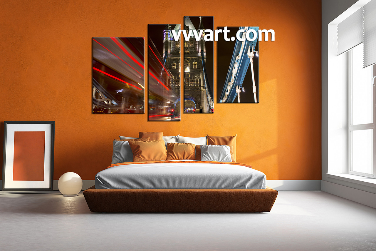 Captivating Bedroom Décor, 4 Piece Wall Art, City Multi Panel Art, Night Pictures, Part 23