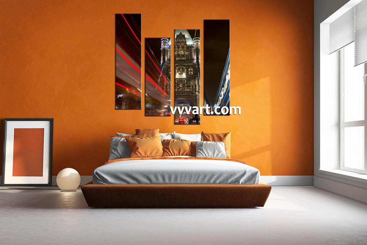 Bedroom Décor, 4 Piece Wall Art, city multi panel canvas, city group canvas