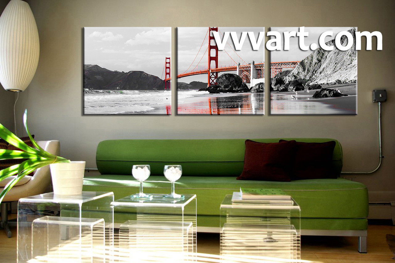 Living Room Art 3 piece canvas wall art landscape wall art ocean art & 3 Piece Black and White City Group Canvas
