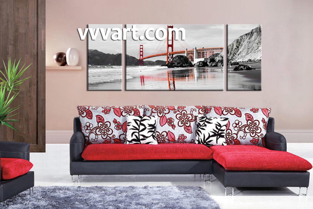 Living Room Art, 3 Piece Canvas Wall Art, Landscape Wall Art, City Canvas